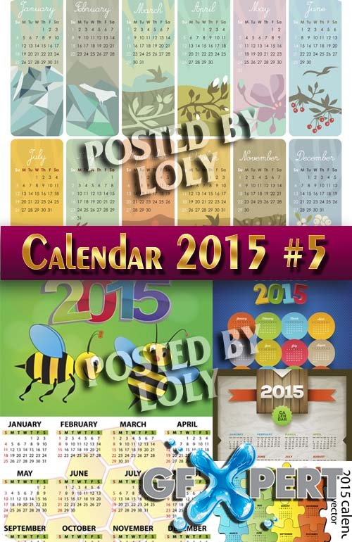 Calendar grid 2015 #5 - Stock Vector