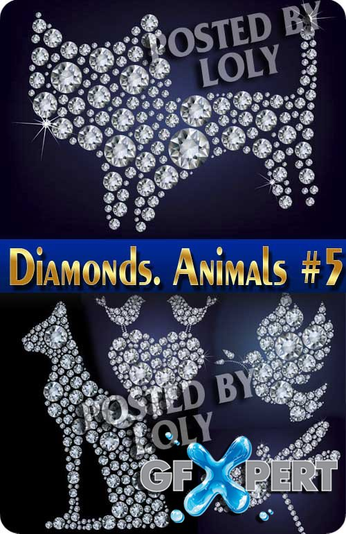 Diamonds. Animals #1 - Stock Vector