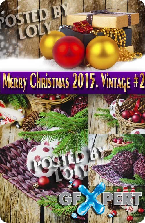Merry Christmas Designs 2015. Vintage #2 - Stock Photo