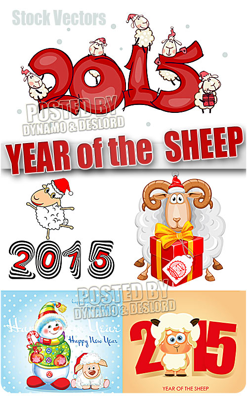 2015 Year of the Sheep 6 - Stock Vectors