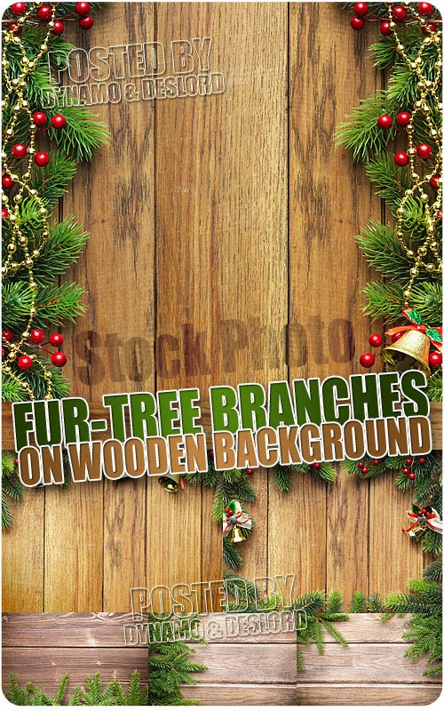 Fir-tree branch on wooden background - UHQ Stock Photo