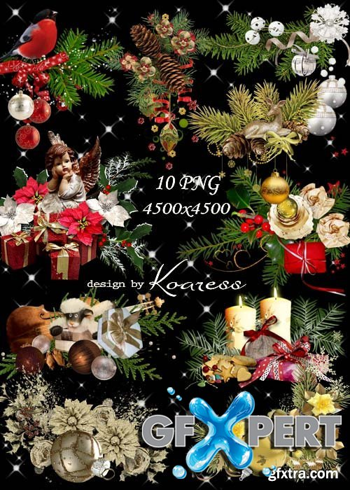 New year and Christmas png clipart on a transparent background