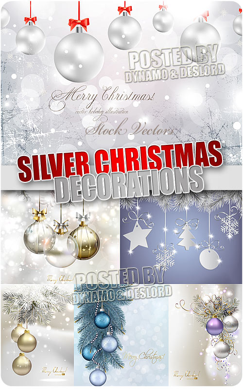 Silver xmas decorations - Stock Vectors