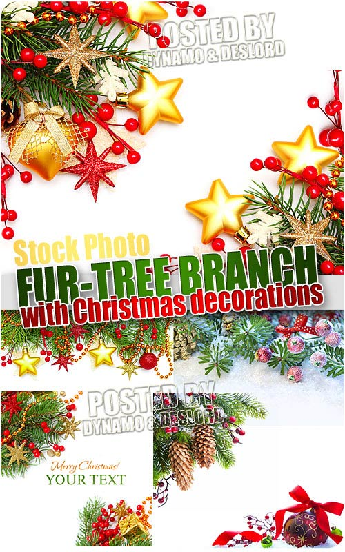 Fur-tree branch with decorations - UHQ Stock Photo