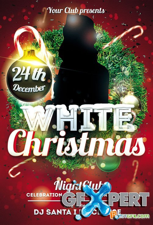 White Christmas Flyer Template PSD
