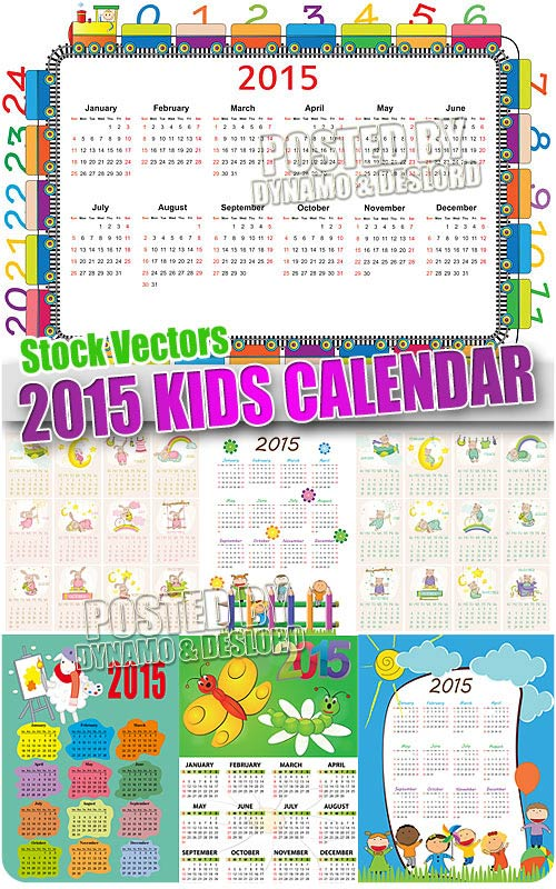 2015 kid calendar - Stock Vectors