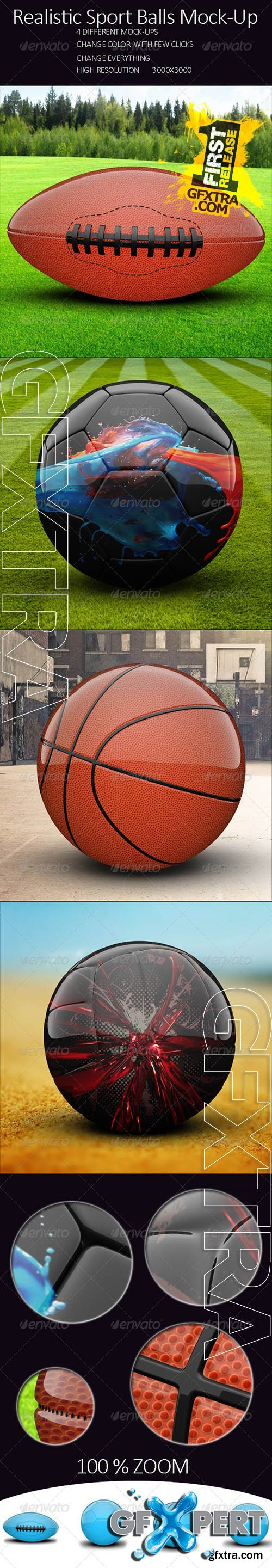 Realistic Sport Balls Mock Up - Graphicriver 8006900