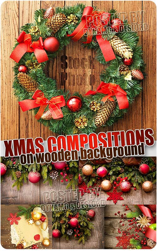 Xmas Compositions on wood - UHQ Stock Photo
