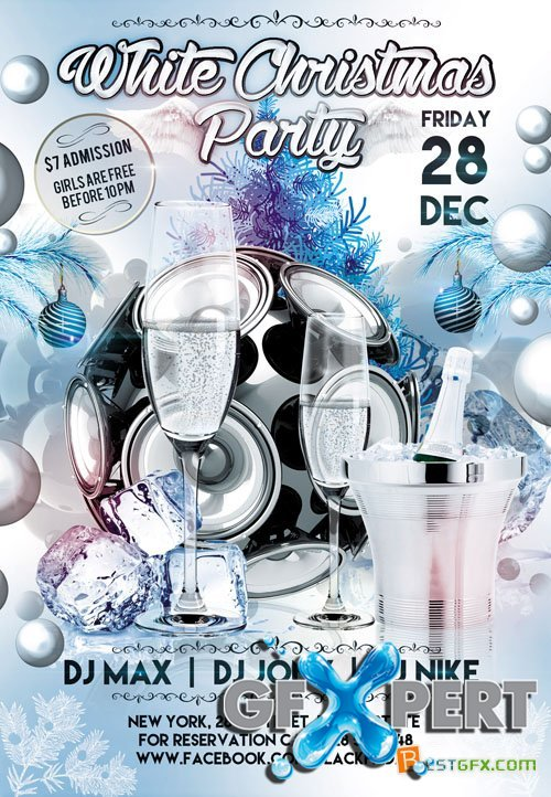 Flyer Template - White Christmas Party