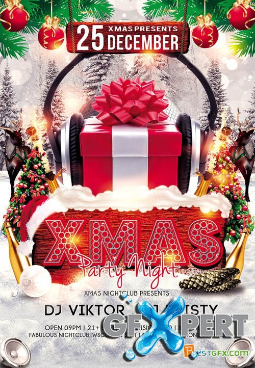 Flyer PSD Template - Xmas Party Night