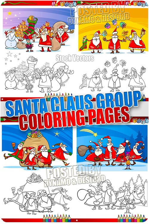 Santa claus group coloring page - Stock Vectors