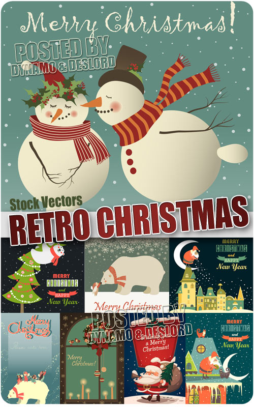 Retro xmas card - Stock Vectors