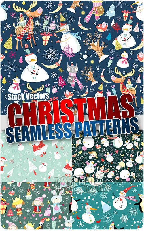Xmas cartoon's patterns - Stock Vectors
