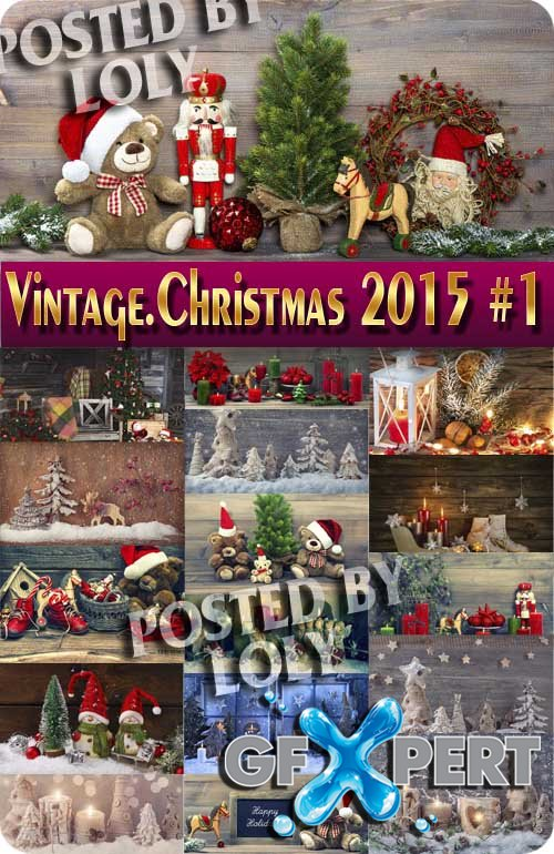 Merry Christmas Designs 2015. Vintage - Stock Photo