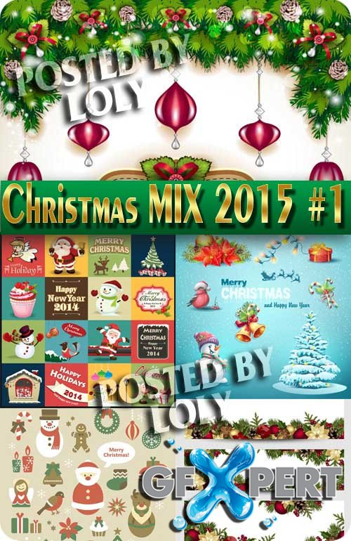 Merry Christmas Designs 2015. Mix #1 - Stock Vector