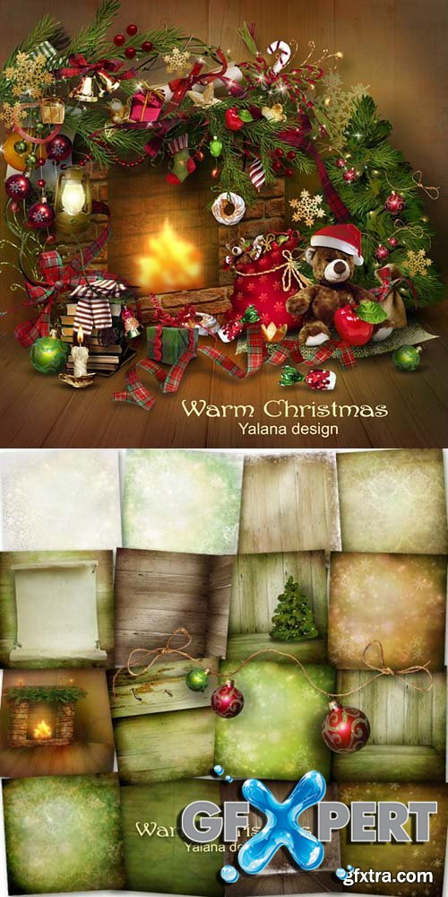 Scrap - Warm Christmas PNG and JPG