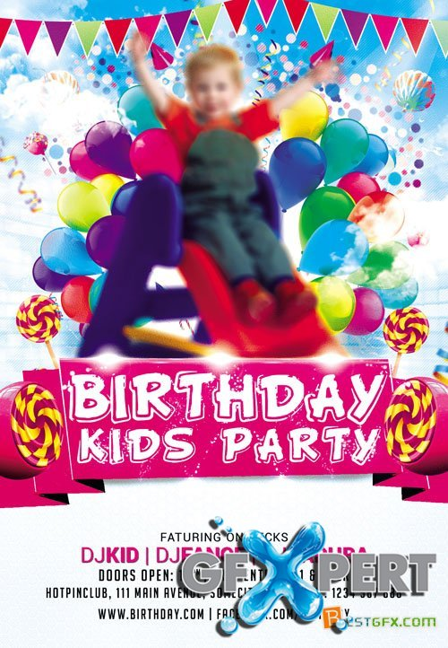 Free Flyer PSD Template - Kids Party download