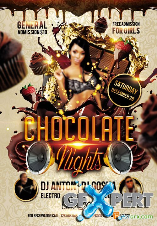 Free Flyer Psd Template Chocolate Nights Download