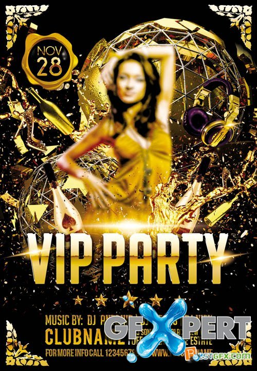 Club Flyer PSD Template - VIP Party