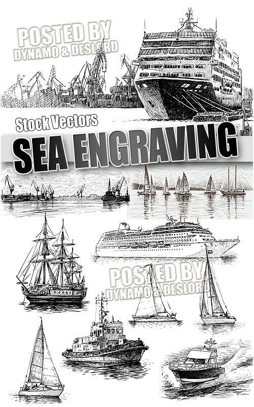 Sea engraving - Stock Vectors