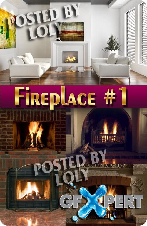 Fireside. Fireplaces #1  - Stock Photo
