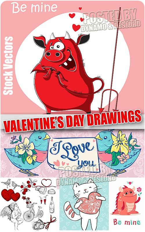 Valentines Day draws - Stock Vectors
