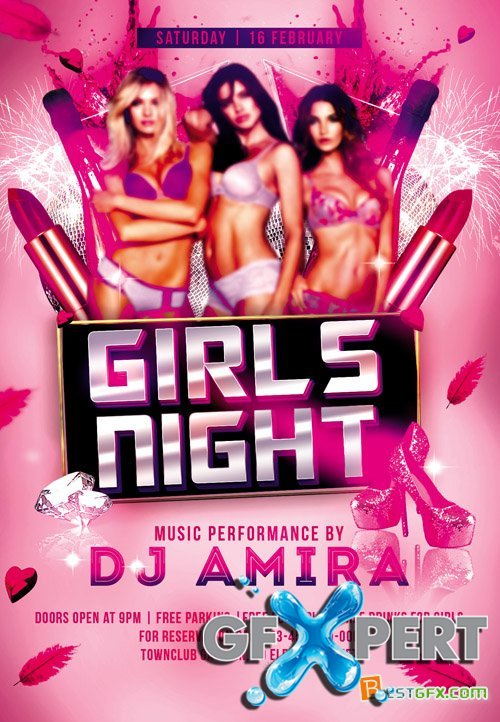 Flyer PSD Template - Girls Night