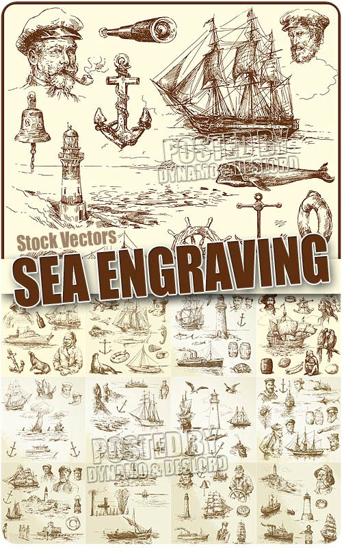 Sea engraving 2 - Stock Vectors