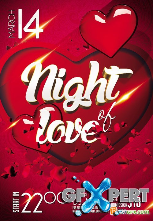Club flyer PSD Template - Night of Love
