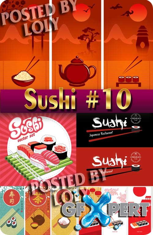Sushi Menu #10 - Stock Vector