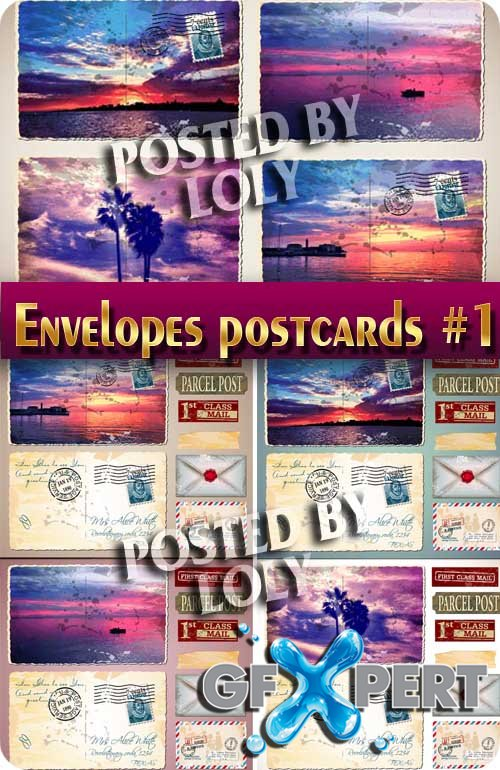 Envelopes and postcards #1 - Stock Vector
