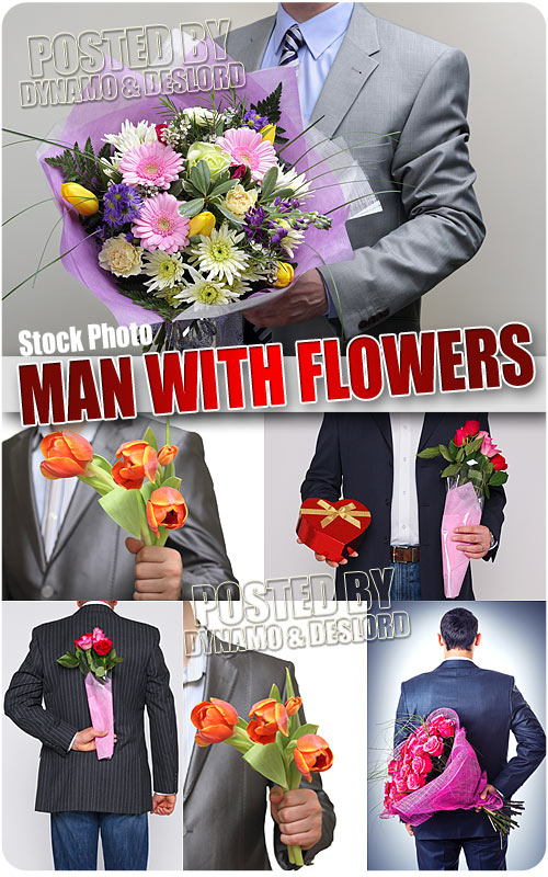 Man with flowers - UHQ Stock Photo