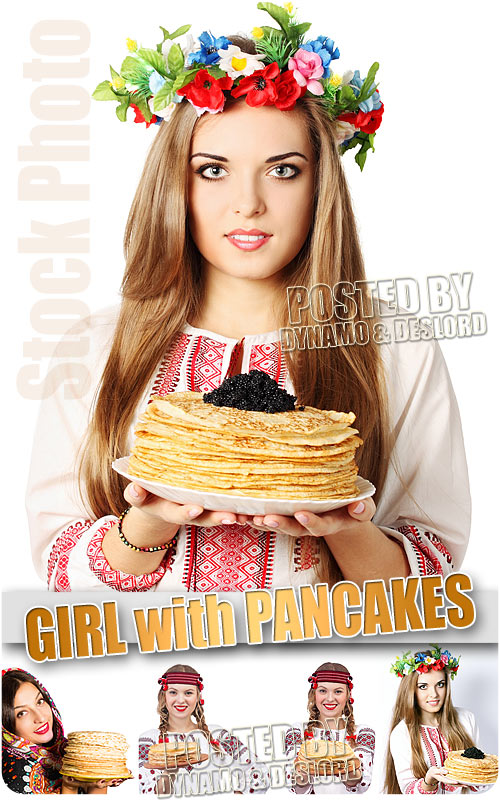 Girl with pancakes - UHQ Stock Photo