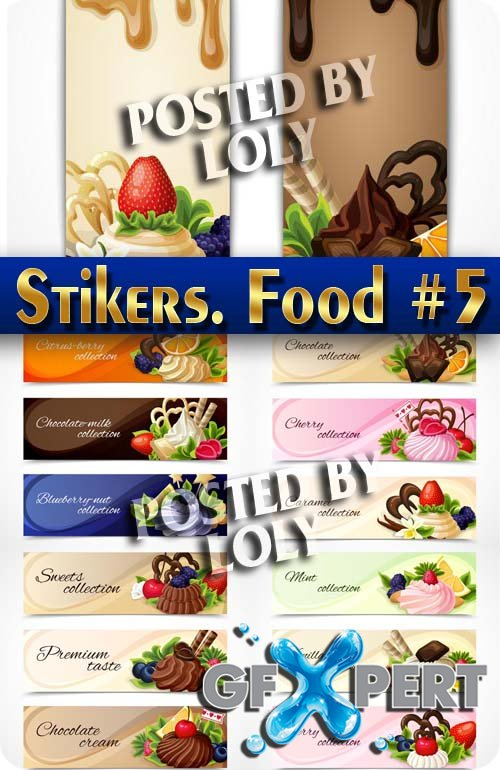 Labels for food #5 - Stock Vector
