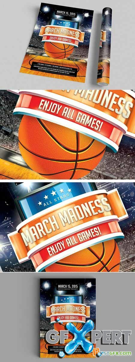 Creativemarket NCAA March Madness 2015 Flyer Poster 180312