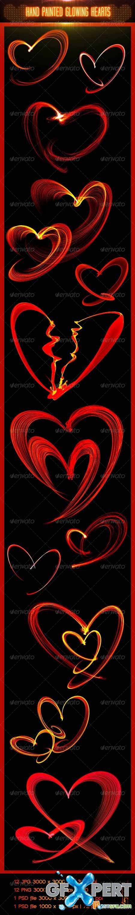 Graphicriver Hand Painted Glowing Hearts 6610541