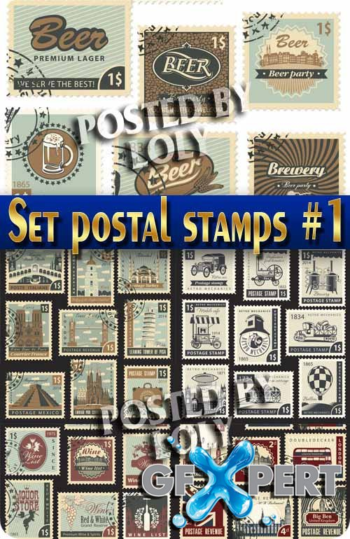 Collection of stamps #1 - Stock Vector