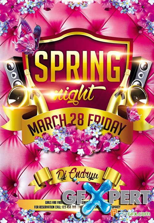 Flyer PSD Template - Spring Night Club