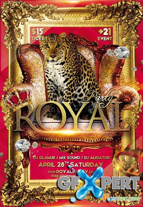 Royal Party Club Flyer PSD Template