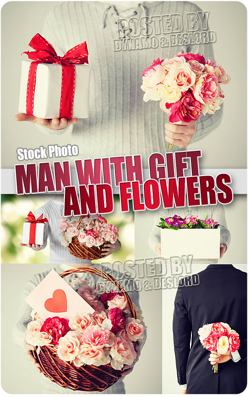 Man with flowers and gift - UHQ Stock Photo