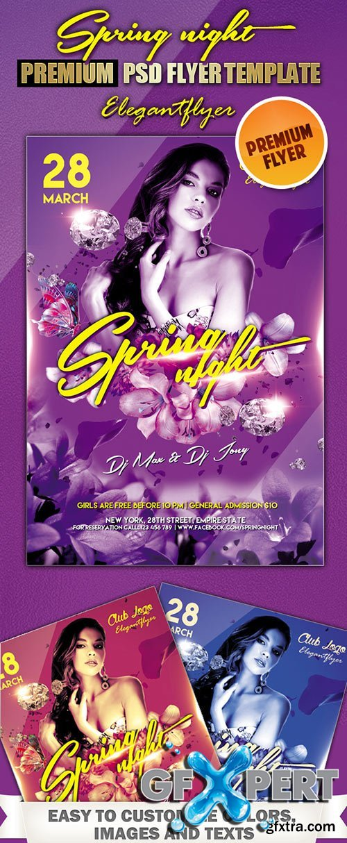 Spring night Premium Club flyer PSD Template