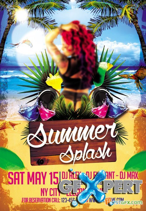 Club Flyer PSD Template - Summer Splash