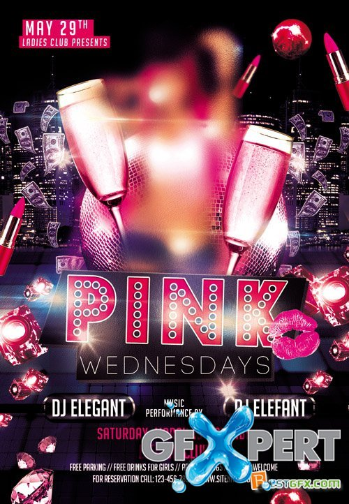 Club Flyer PSD Template - Pink Party