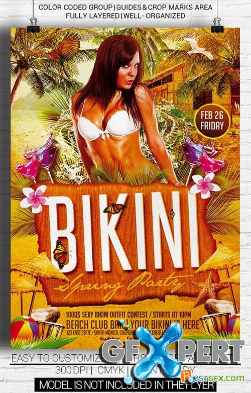 Flyer Template PSD - Bikini Spring Party
