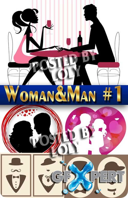 Woman and man #1 - Stock Vector
