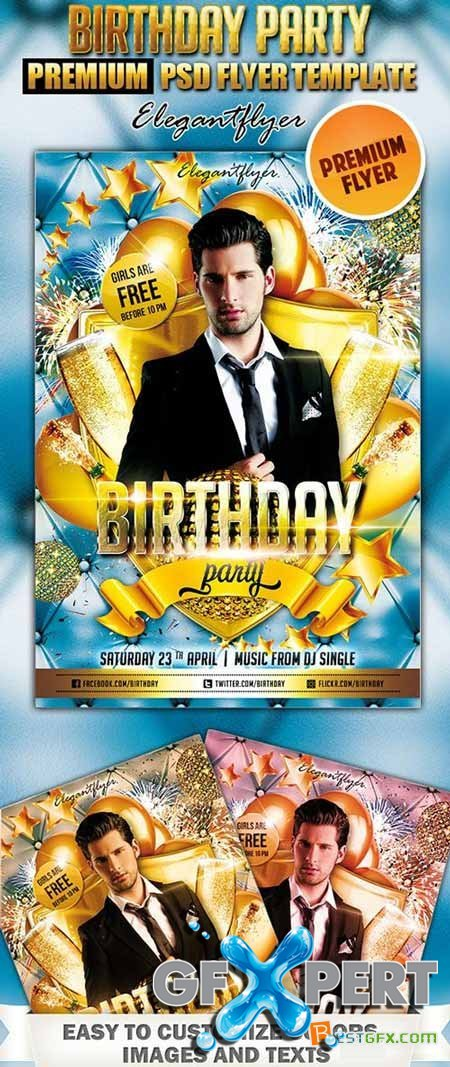 Birthday Party 4 Flyer PSD Template + FB Cover