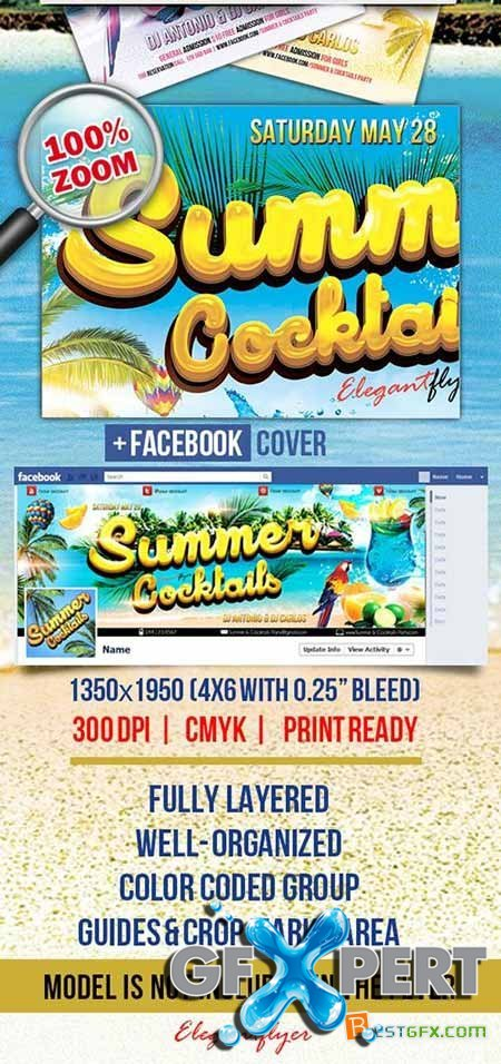 Summer Cocktails Party Flyer PSD Template + Facebook Cover