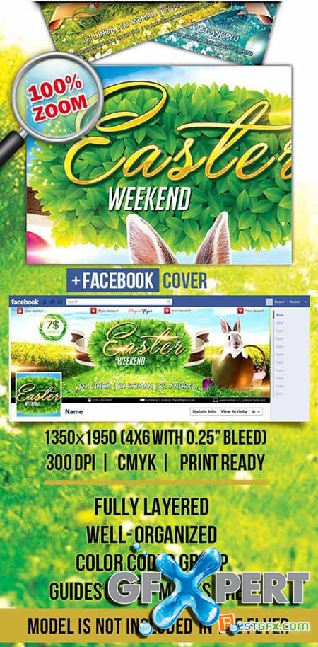 Easter Weekend Flyer PSD Template + Facebook Cover
