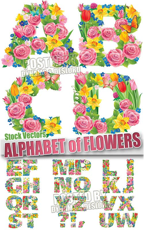 Alphabet of flowers - Stock Vectors