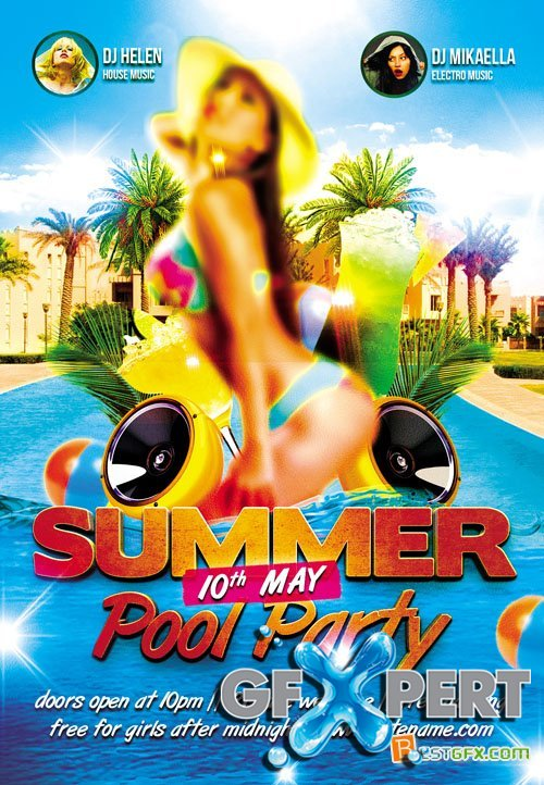 Free Flyer Template  Summer Pool Party Plus Fb Cover Download